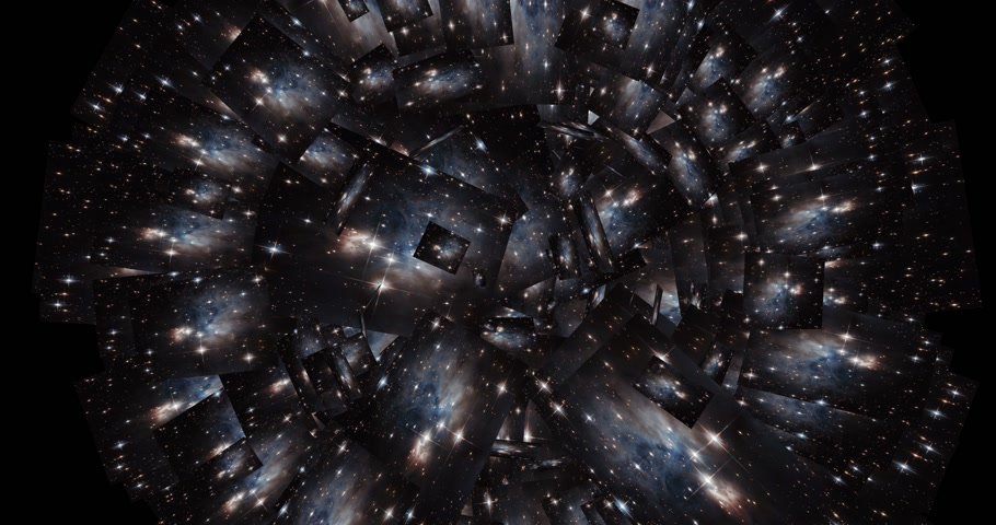relativity : Digital Animation of a kaleidoscopic Space Scene Stock Footage
