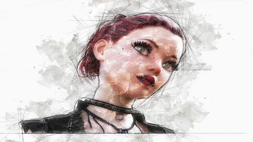 Digital Animation of an artistic sketch, based on a self-created 3D illustration of a Female, Model Release or Property Release not required. Stock Footage