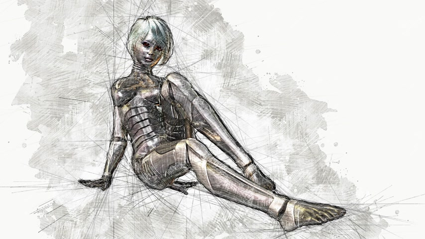 android : Digital Animation of an artistic Sketch, based on a self-created 3D Illustration of a female Cyborg, Model-Release or Property Release not required.