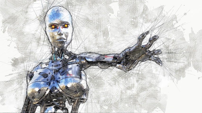 Digital Animation of an artistic Sketch, based on a self-created 3D Illustration of a female Cyborg, Model-Release or Property Release not required.