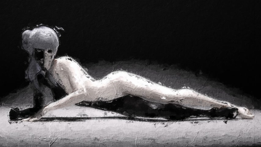 Digital artistic sketch animation of a female in black and white based on a self-created 3D illustration