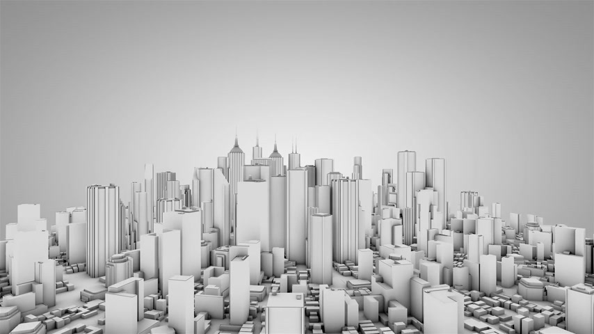 uzun boylu : Circling around urban backdrop. White tint. Seamless loop. Stok Video