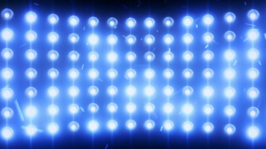 sel : Bright flood lights background with particles and glow. Blue tint. Seamless loop.