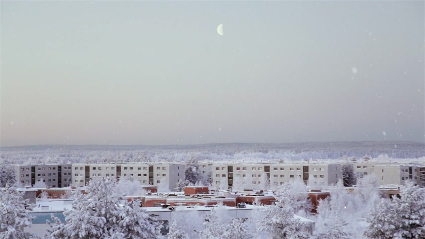 snow angel : Beautiful view on winter city with falling snow. Shot on Full HD camera. Stock Footage