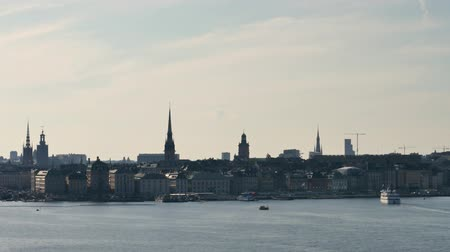 Time lapse from the Swedish capital, Stockholm. View of the old town on an island. Стоковые видеозаписи