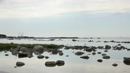 Landscape of the island of Gotland, Sweden, in the Baltic Sea. On the coast, there are many rocks in the water and boats in the background.