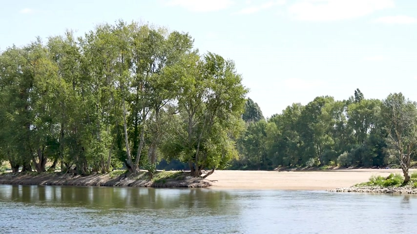 stroll : Orleans, France. Landscape of the Loire River during the summer. Horizontal panorama.