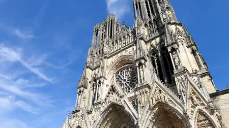 "Panorama of the Reims Cathedral, Our Lady of Reims (in french ""Notre-Dame de Reims""). It is a Roman Catholic cathedral in France, built in the High Gothic style. Reims is in the northeast of France."