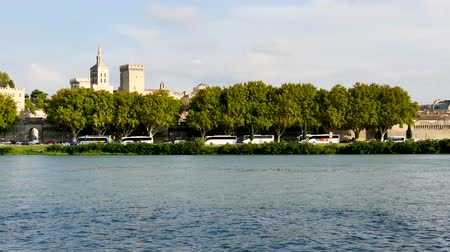 Panorama in Avignon from the Rhone river banks. The Papal palace was classified as a UNESCO World Heritage Site. Avignon is an old city, in the south east of France.