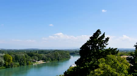 alpes : Panorama from the city of Avignon. View on the river Rhone and the nature around the city. Avignon is located in the south east of France.