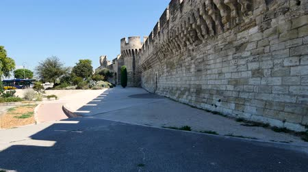 Panorama of the Avignon ramparts. It is one of the few cities in the city. Avignon is an old city, located in southern France. Стоковые видеозаписи