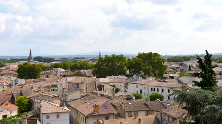 alpes : Panorama of Avignon, a former town in south-eastern France in the department of Vaucluse on the left bank of the Rh?ne river. Filmed during the summer. View from above.