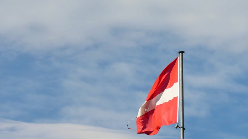 Austrias flag in the wind. Behind the flag, a cloudy sky.