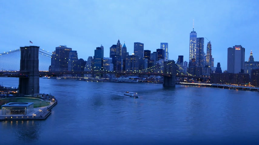 descobrir : New York - Manhattan downtown skyline in the evening