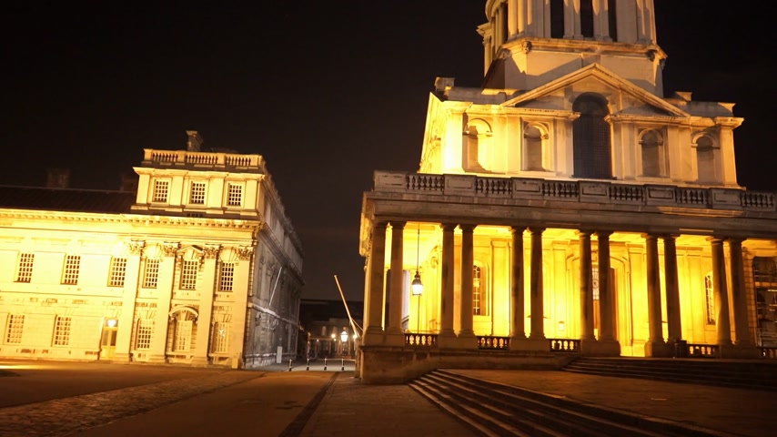 greenwich : Old Royal Naval College in Greenwich London by night - LONDON, ENGLAND Stock Footage
