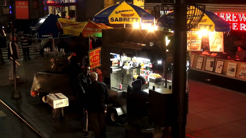 kebab : Shish Kebab and hot dog Street Sale Manhattan Stock Footage