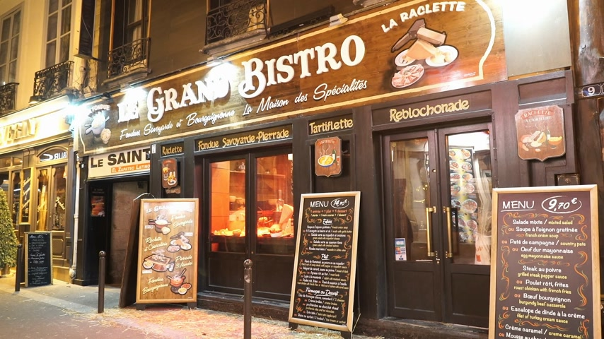 french metro : Authentic French bistro restaurant in Paris - PARIS, FRANCE Stock Footage