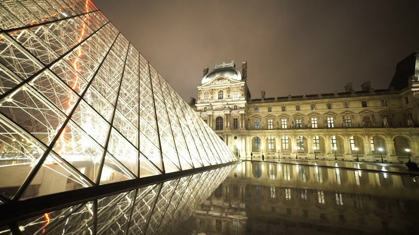 french metro : Wide angle shot of the Louvre pyramids - PARIS, FRANCE
