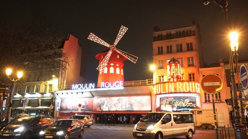 french metro : World famous Moulin Rouge bar in Paris - PARIS, FRANCE Stock Footage