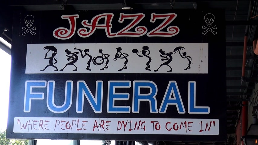 standorte : Jazz Funeral Sign New Orleans, Louisiana USA