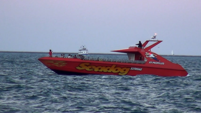 geográfico : Speed ??Boat on Lake Michigan - CHICAGO, ILLINOIS  USA