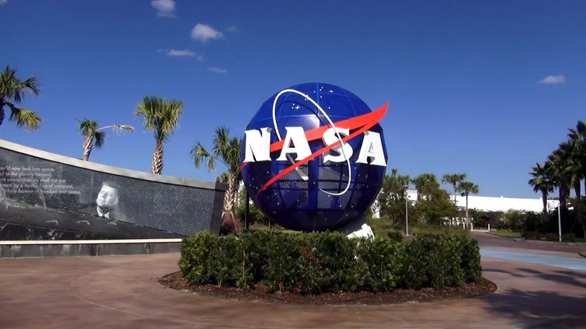 scoprire : NASA logo al Kennedy Space Center di Cape Canaveral Cape Canaveral, Florida  USA 18 ottobre 2015