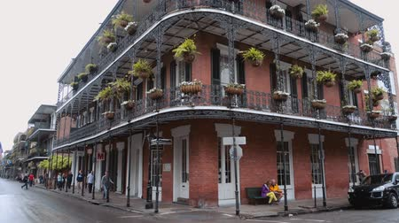 espetacular : Iron banconies of New Orleans mansions Stock Footage