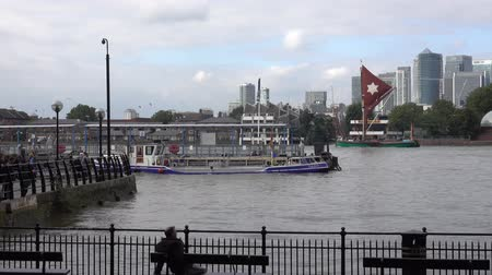 greenwich : View over River Thames at London Greenwich Stock Footage