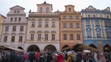 zegar : Beautiful buildings around Old Town Square in the city center of Prague Wideo