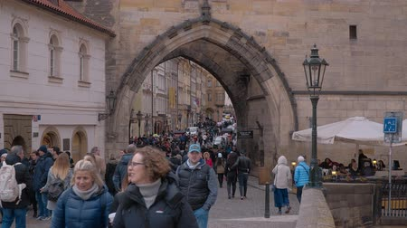 Československo : The Gate to Charles Bridge in Prague