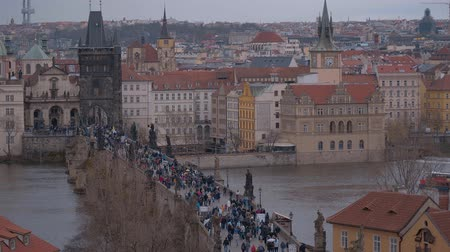 Československo : The beautiful city of Prague with famous Charles Bridge