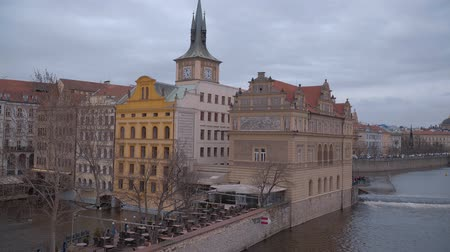 Československo : Beautiful mansions at the banks of Vltava River in Prague