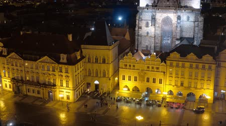 Československo : Prague by night - beautiful aerial view over Old Town Square