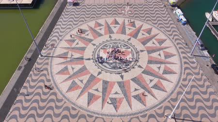 augusta : The famous compass rose at the Monument of the Discoveries in Lisbon Belem - LISBON  PORTUGAL - JUNE 14, 2017 Stock Footage
