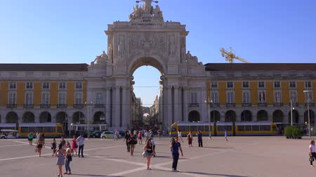 belem : Famous Arch in Lisbon called Arca da Rua Augusta at Comercio Square - LISBON  PORTUGAL - JUNE 14, 2017 Stock Footage