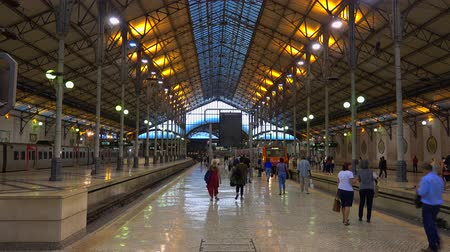 belem : Rossio Train station in Lisbon - LISBON  PORTUGAL - JUNE 14, 2017 Stock Footage