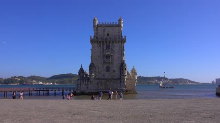 augusta : Famous Belem Tower in the city of Lisbon - LISBON  PORTUGAL - JUNE 14, 2017 Stock Footage