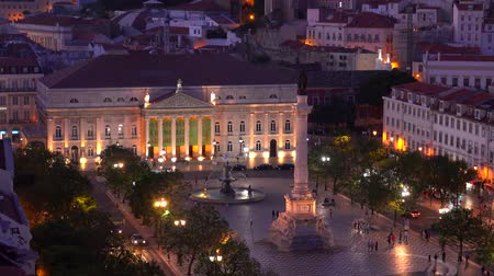 augusta : Beautiful Dom Pedro Square by night - Lisbon Rossio - LISBON  PORTUGAL - JUNE 14, 2017 Stock Footage