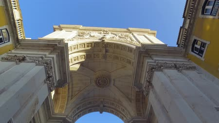 street prhotography : The famous Arch at Augusta Street in Lisbon Stock Footage