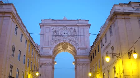 street prhotography : The beautiful Augusta street arch in the evening called Arco da Rua Augusta Stock Footage