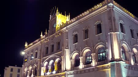 street prhotography : Beautiful Rossio train station in Lisbon at night Stock Footage