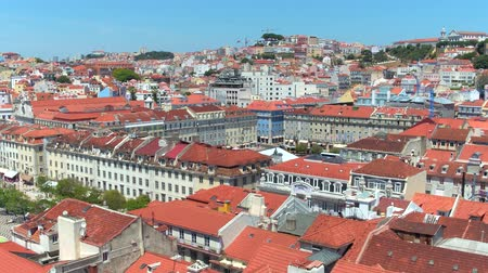 street prhotography : Aerial view over Dom Pedro Square in Lisbon Rossio Stock Footage