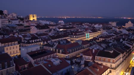 street prhotography : Beautiful Lisbon in the evening - aerial view