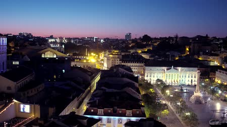 augusta : Aerial view over the city of Lisbon at night