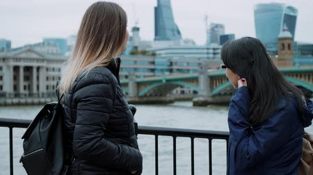 multirracial : Two girls visit London and enjoy the trip and sightseeing