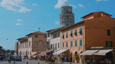 renesans : Beautiful historic district of Pisa with the Leaning Tower - PISA TUSCANY ITALY - SEPTEMBER 13, 2017