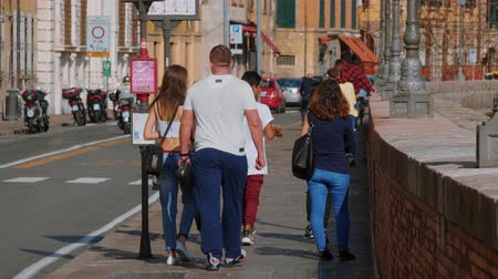 renesans : Walking along the riverside of River Arno in Pisa on a sunny day - PISA TUSCANY ITALY - SEPTEMBER 13, 2017 Wideo
