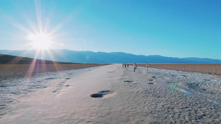 great indian desert : Beautiful scenery at Death Valley National Park California - Badwater salt lake Stock Footage