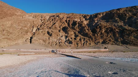 great indian desert : Badwater Salt lake at Death Valley California Stock Footage