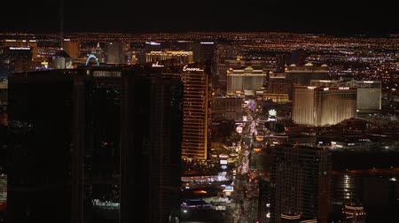 покер : Aerial view over the city of Las Vegas by night - USA 2017